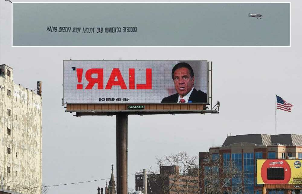'Goodbye governor bad touch!': Cuomo targeted with banner flying over Albany