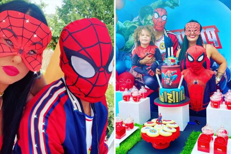 Arsenal star Pierre-Emerick Aubameyang dresses up as Spider-Man to celebrate son Pierre's birthday with Marvel party