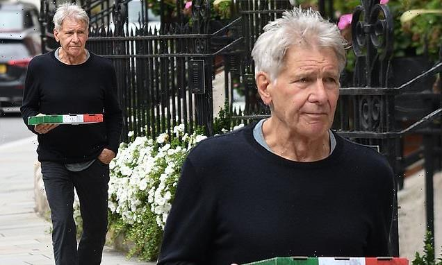 Harrison Ford, 79, steps out to grab a takeaway pizza in Mayfair