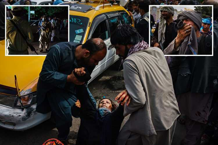 Horror as Taliban thugs 'attack women and children with whips and sticks before firing guns' amid chaos at Kabul airport