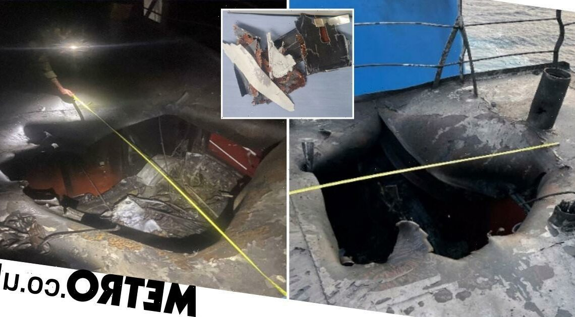 Images of deadly drone strike on tanker released as Iran denies responsibility