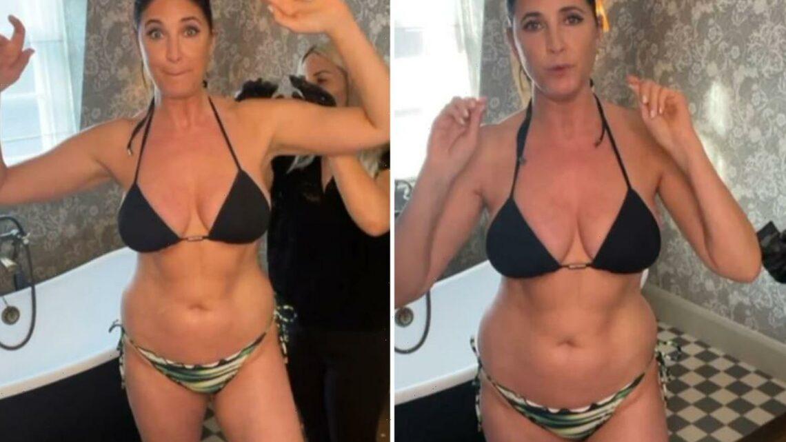Lisa Snowdon, 49, shows off her incredible bikini body as she strips off to get a spray tan
