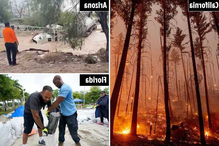 Monsoon rain 'kills two' amid flash flooding in Arizona as Florida braces for Tropical Storm Grace & fires rage in Cali