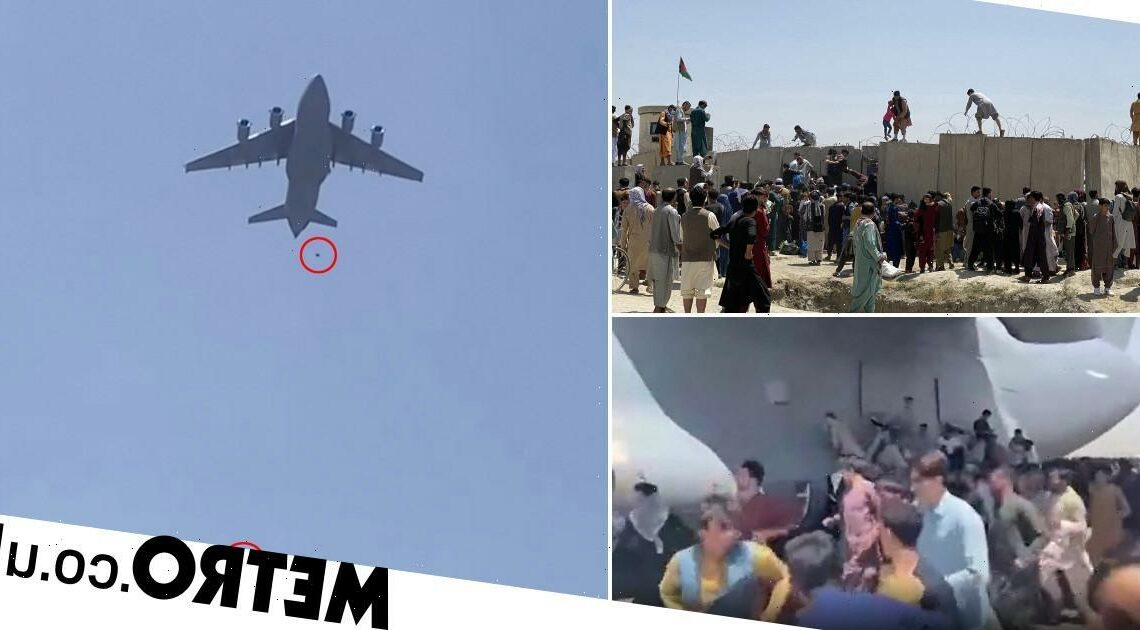 People 'fall from plane leaving Kabul after trying to stowaway in desperation'