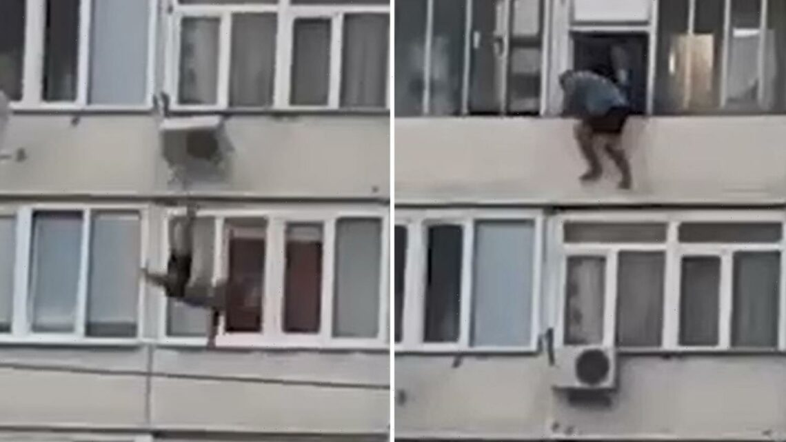 Shocking video shows man plunge 50ft from balcony 'after drunk mate pushed him off for a prank' leaving him in a coma