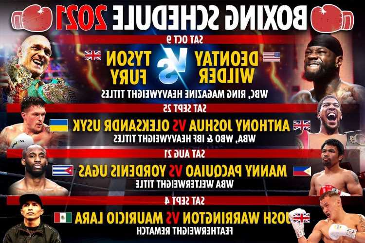 Upcoming boxing fights 2021: Fixture schedule –  Tyson Fury vs Deontay Wilder 3 & Anthony Joshua vs Oleksandr Usyk DATE