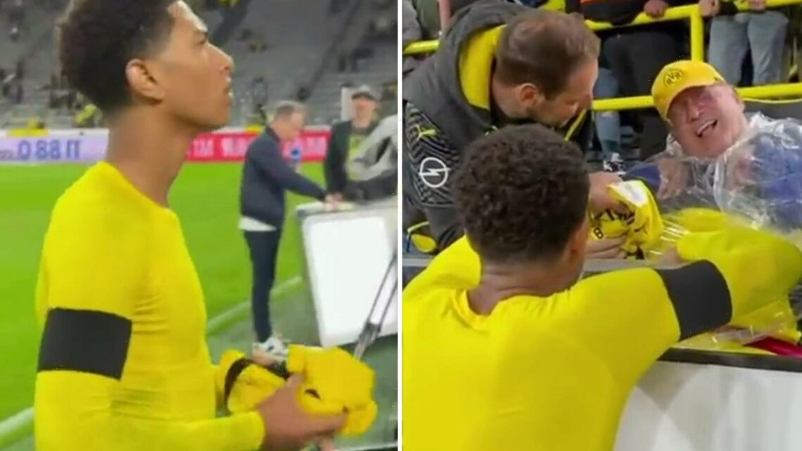 Watch priceless reaction as classy Jude Bellingham hands shirt to overjoyed Dortmund fan after Super Cup final defeat