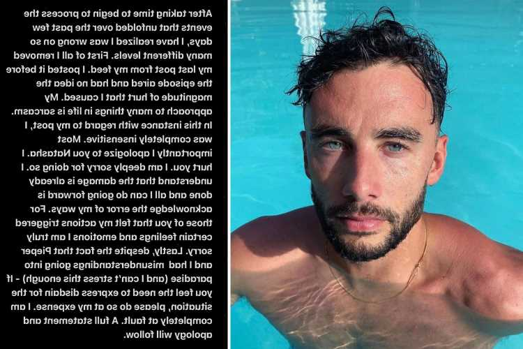Bachelor In Paradise's Brendan Morais deletes 'disrespectful' Instagram post & issues apology after losing 82K followers
