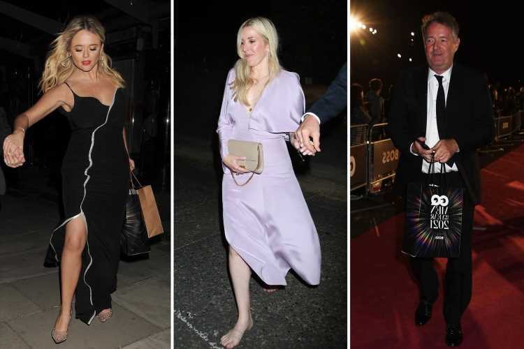Emily Atack, Piers Morgan and shoeless Ellie Goulding lead the partied out celebs leaving the GQ Awards after party