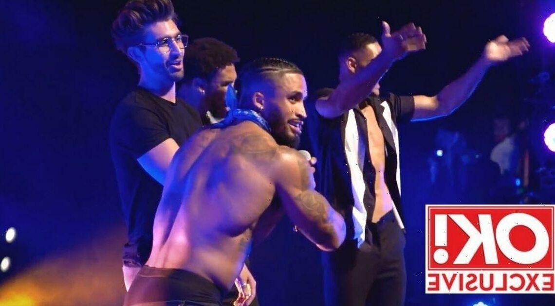 Love Islanders Chris Taylor, Danny Williams and Jordan Hames strip in Dreamboys show