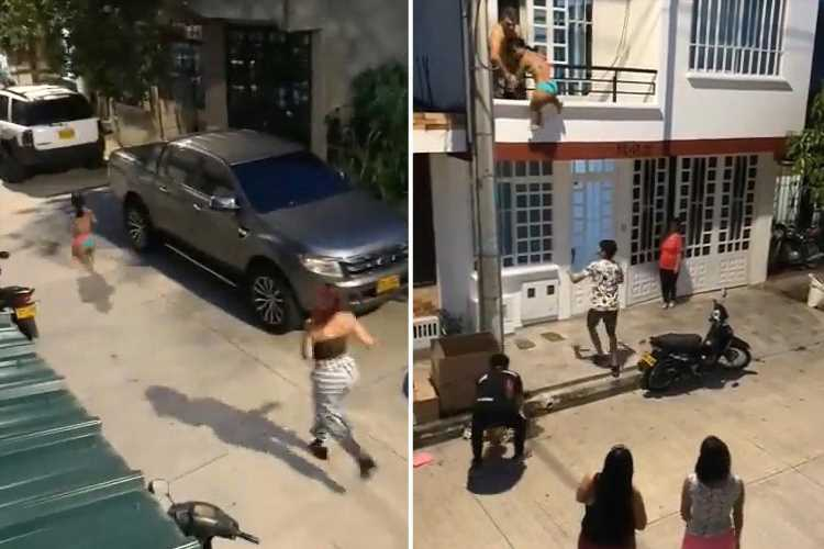 Moment man lowers 'lover' from balcony as 'girlfriend' returns home