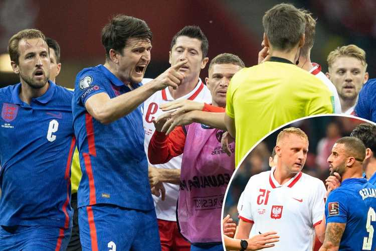 Watch Maguire and Glik shown yellow cards after heated row as incident in England draw in Poland is reported to the FA