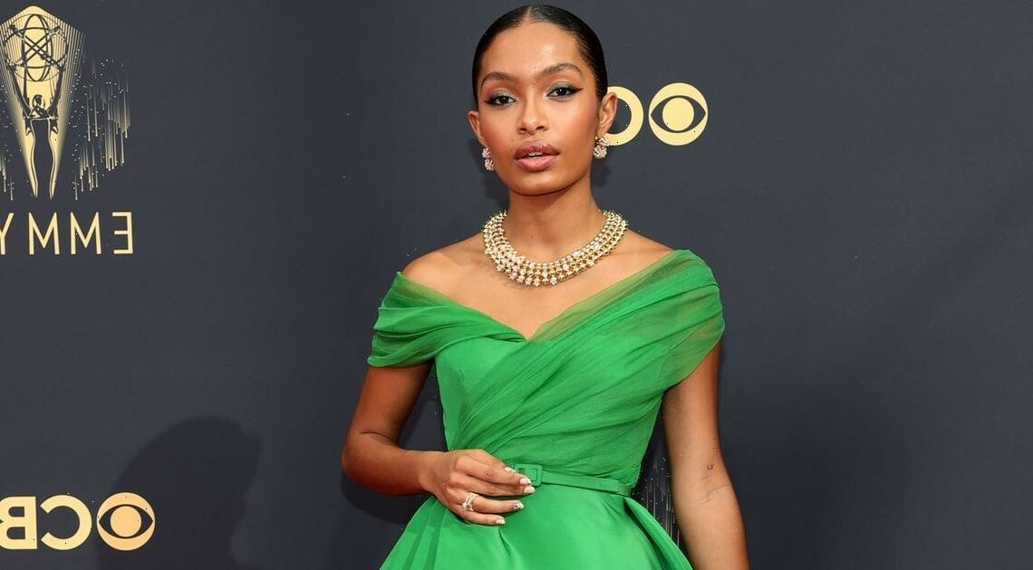Yara Shahidi Wears the Most Sophisticated, Off-the-Shoulder Dress — Albeit in Electric Green