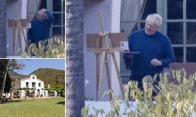 A picture of relaxation: Boris takes to his easel for a second day