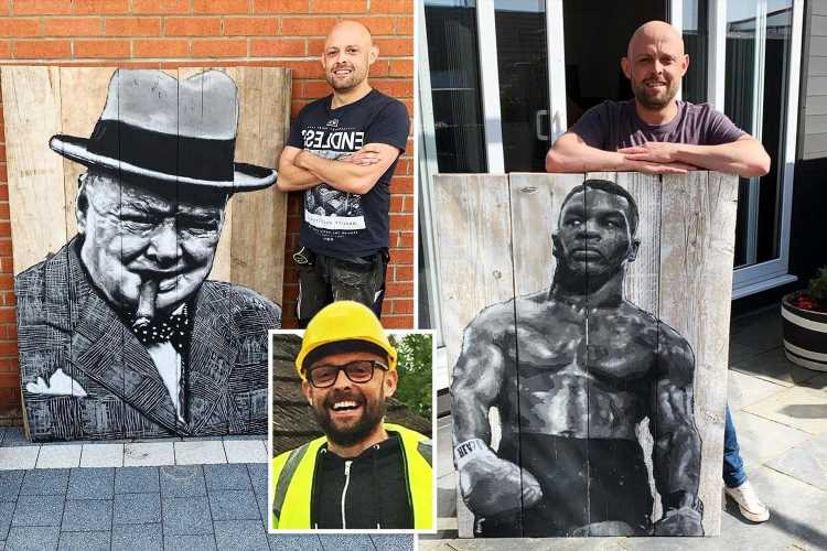 Amateur Banksy scaffolder builds new career as artist by turning planks into portraits
