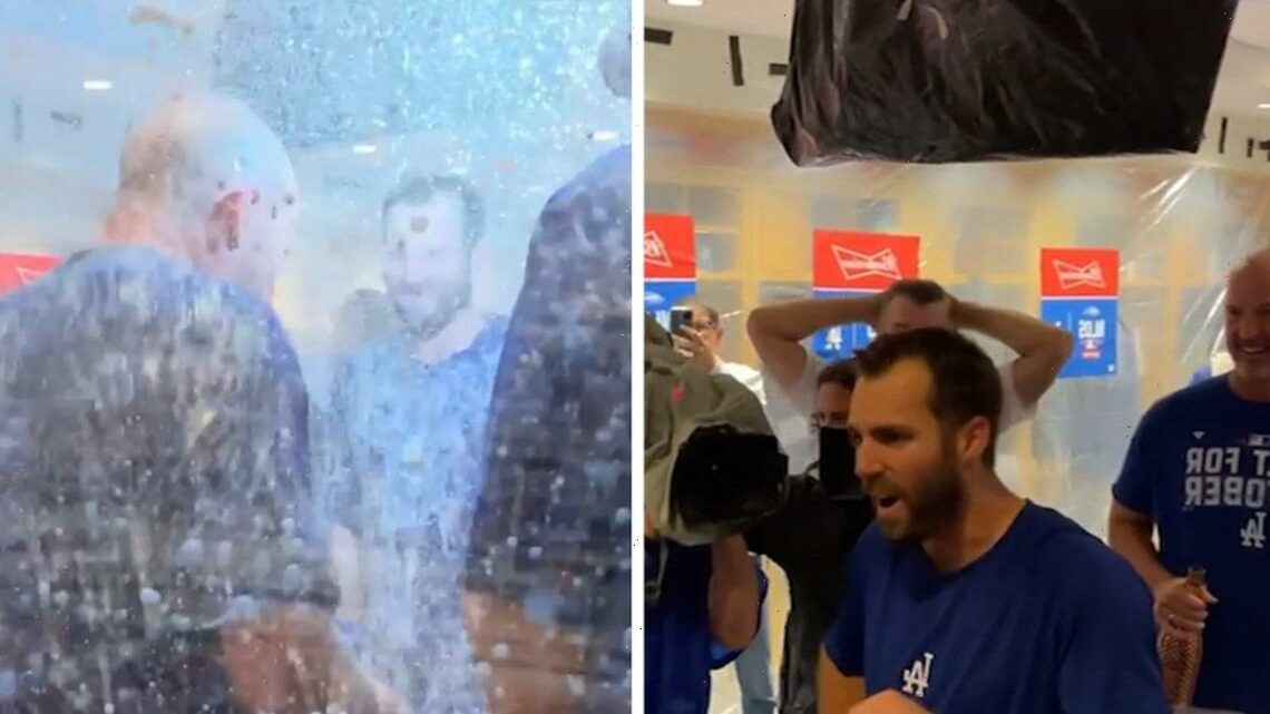 Dodgers' Chris Taylor Doused In Champagne After Walk-Off Home Run