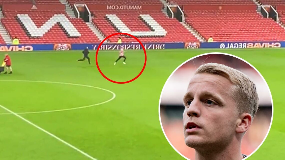 Donny van de Beek trains alone on Old Trafford pitch following Man Utd thrashing by Liverpool as he casts lonely figure