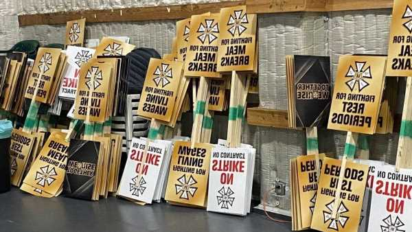 IATSE Members Prepare Strike Signs As Contract Talks Continue