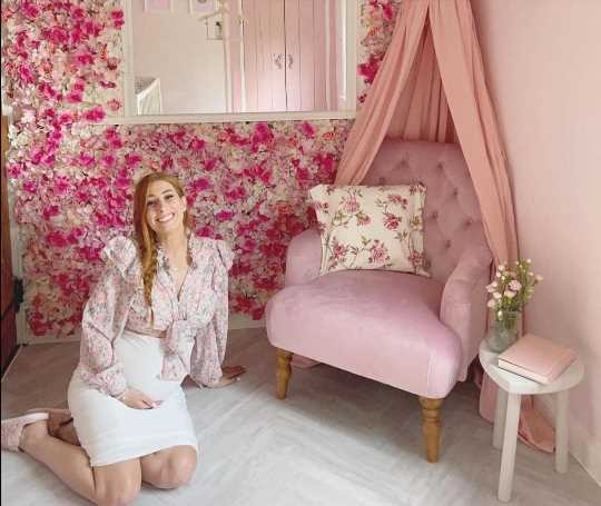 Inside Stacey Solomon's super glam pink nursery with a flower wall and special princess canopy for new baby daughter