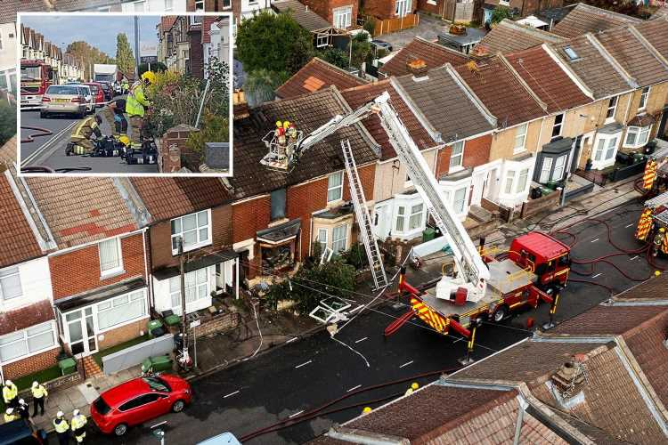 Portsmouth explosion: Two people injured after gas blast reduces home to rubble as fire fighters rush to scene