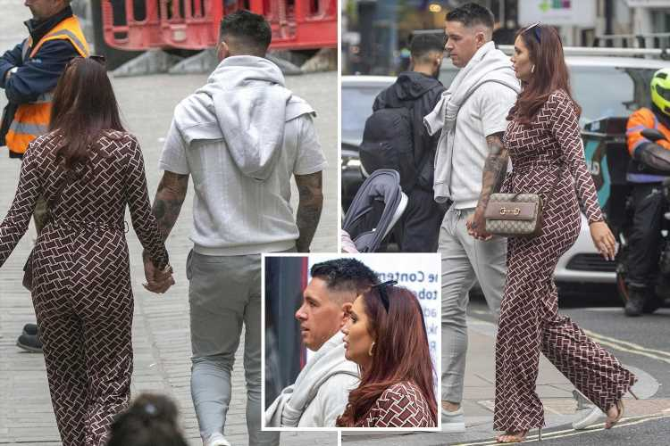 Towie's Amy Childs holds hands with mystery man in London three months after split from ex